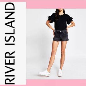RIVER ISLAND Midrise Black Denim Shorts, SZ 2